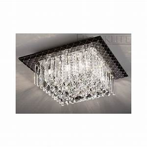 Franklite cascata cf crystal flush ceiling light