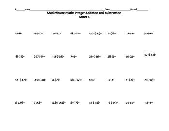 Mad Minute Math Integer Addition And Subtraction 1 By Alex Pimentel