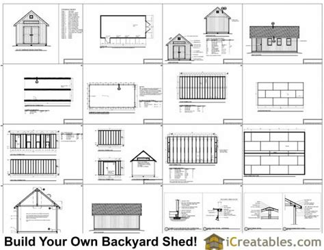 12x24 traditional backyard shed plans icreatables
