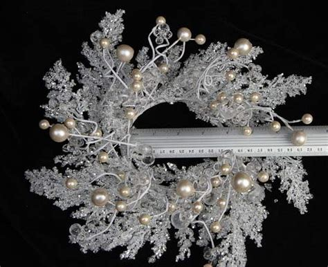 white iced branch  beads candle ring wreath candle