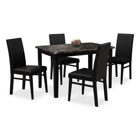 dining room table 4 chairs shadow table and 4 chairs black value city furniture