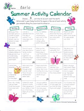 send home summer activity calendar printable skills sheets