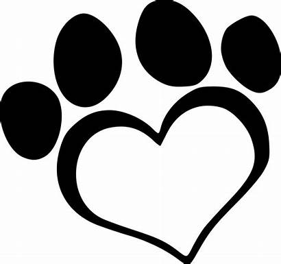 Paw Heart Clipart Dog Background Transparent Line