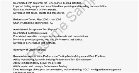 Performance Resume Exles by Resume Sles Performance Tester Resume Sle