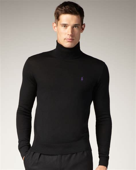mens black sweater lyst polo ralph turtleneck sweater in black for