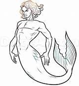 Merman Drawing Draw Step Mermaid Drawings Male Mermaids Mermen Pose Base Getdrawings sketch template