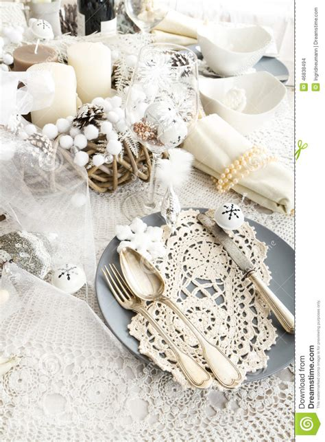 shabby chic christmas table decorations christmas table setting with traditional holiday decorations stock photo image 46838494