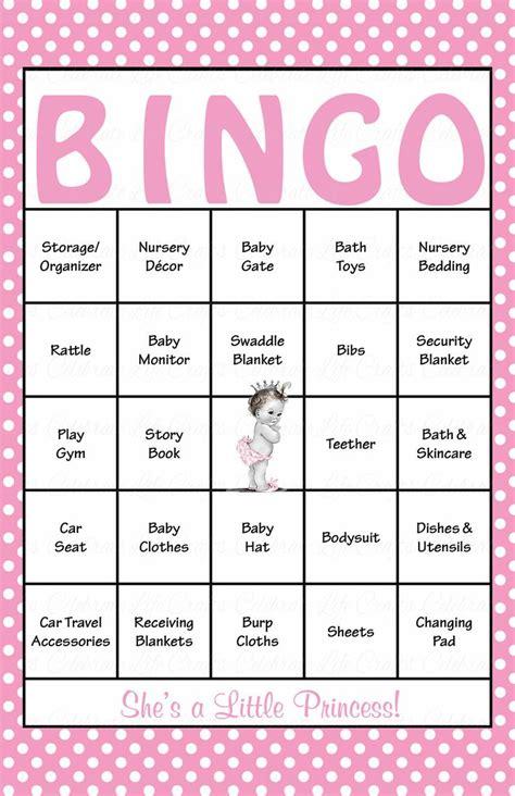princess baby bingo cards printable  prefilled