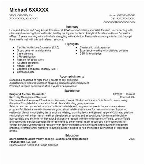 addictions counselor mock resume best and counselor resume exle livecareer