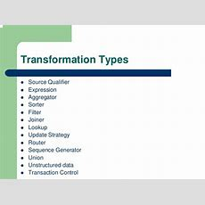 4 Informatica Transformation Types Sq And Exp