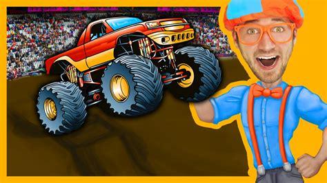 monster truck music videos monster trucks with blippi toys monster truck song for