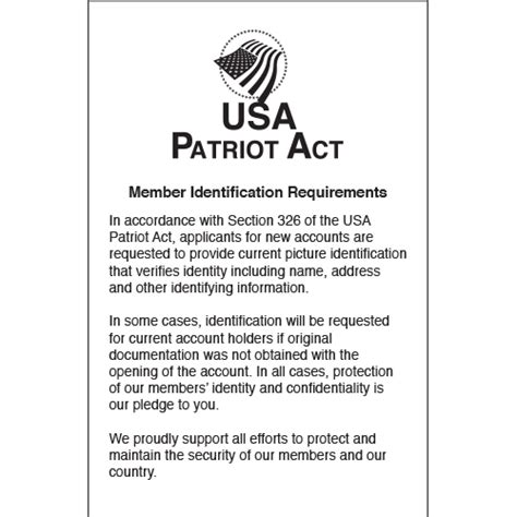 patriot act section 326 patriot act section 326 acrylic compliance sign patriot