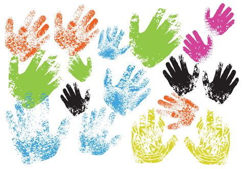 child hand print vectors   vector art stock