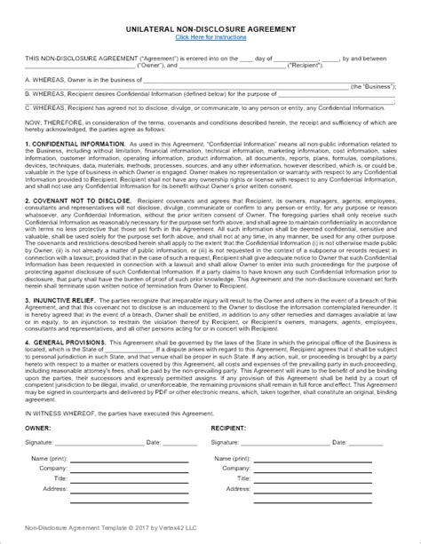 nda template non disclosure agreement template unilateral and nda