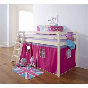 Cabin Bed Mid Sleeper Bunk with Tent Pink in Whitewash ...