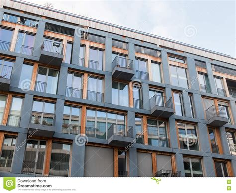 Modern Apartment Building With Small Balconies Stock Image