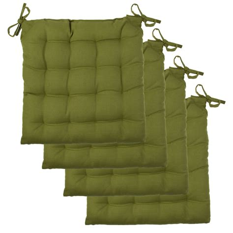 4pk chair pads set soft tufted cotton canvas padded seat