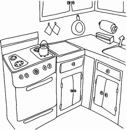 Coloring Kitchen Pages Water Boiling Stove Drawing