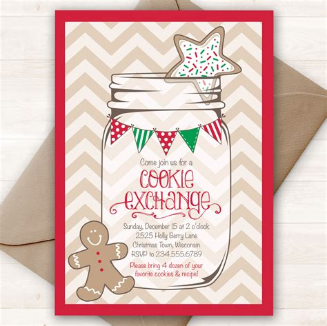 christmas cookie exchange invitation printable holiday