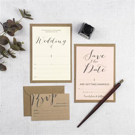 modern calligraphy diy wedding invitation set by russet