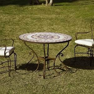 Table Fer Forgé Ronde : table ronde en fer forg et plateau zellige pierre naturelle ~ Teatrodelosmanantiales.com Idées de Décoration