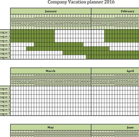 company vacation planner  excel templates