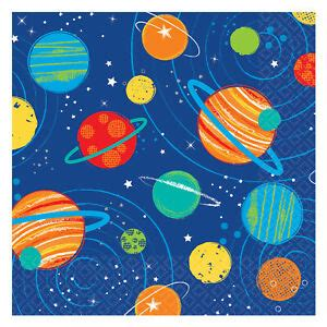 16 x Outer Space Birthday Beverage Napkins Rocket Space