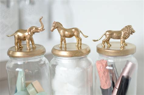 diy post gold animal jars bang  style