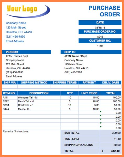 microsoft excel purchase order template purchase