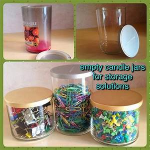 empty candle jars for home office storage upcycling With kitchen cabinets lowes with yankee candle jar holders