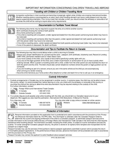 canada child passport renewal form child general passport application for canadians under 16