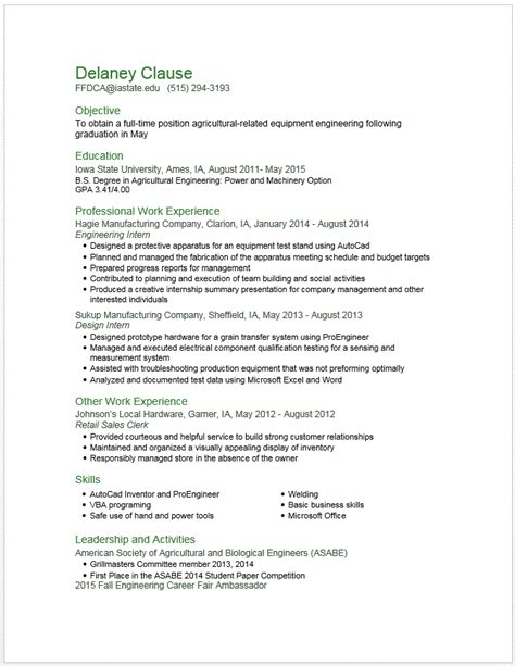 Undergraduate Chemical Engineering Resume by Exle Resumes Engineering Career Services Iowa State