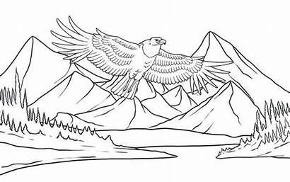 Coloring Scenery Mountain Eagle Flying Mountains Template
