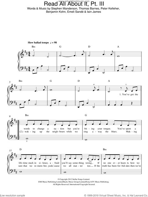 Music is an auditory skill, like language. Sande - Read All About It, Part III sheet music for piano solo v2