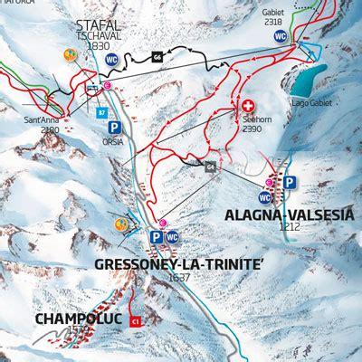 mappa impianti  cartina delle piste skirama monterosa