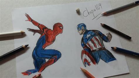 dibujo de capitan america  spidermancivil war drawing