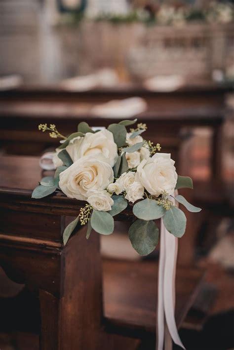 rose  eucalyptus church decor weddingflowers love