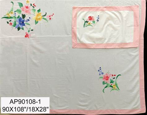 size sheets ap90108 1 90x108 quot white cotton with applique work