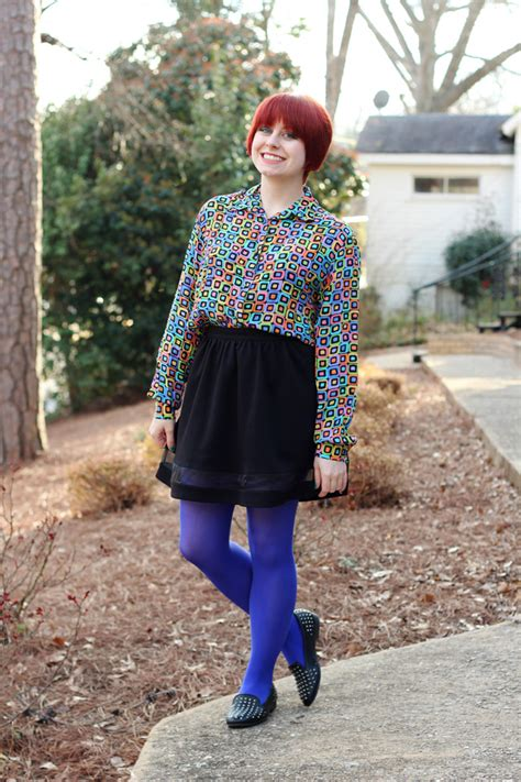 geometric print shirt black   skirt bright blue