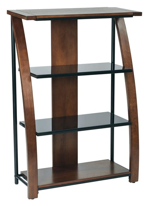 Bookcase With Glass Shelves by Emette Bookcase With Two Glass Shelves And Cherry Finish