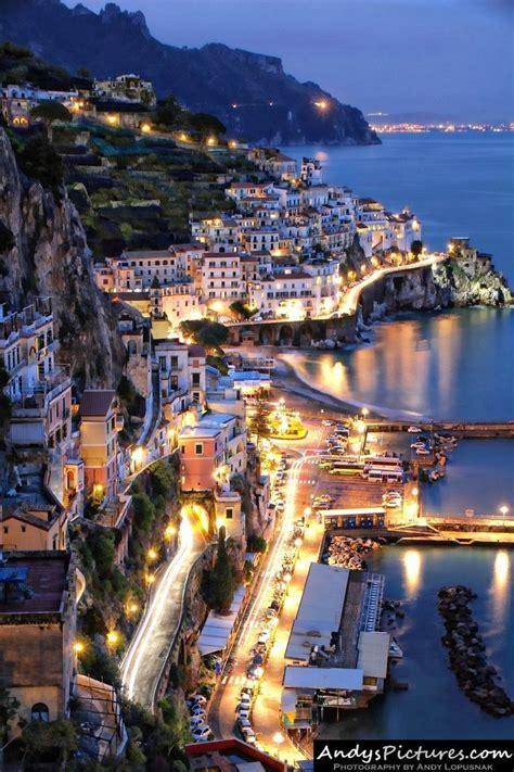 Amalfi At Night Italy Cityscapes Pinterest