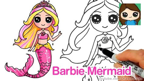 draw barbie mermaid chibi youtube drawing