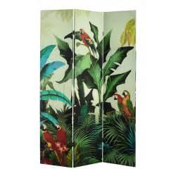 wohnzimmer raumteiler paravent santana mit tropenmotiv bedruckt b 121 cm maisons du monde