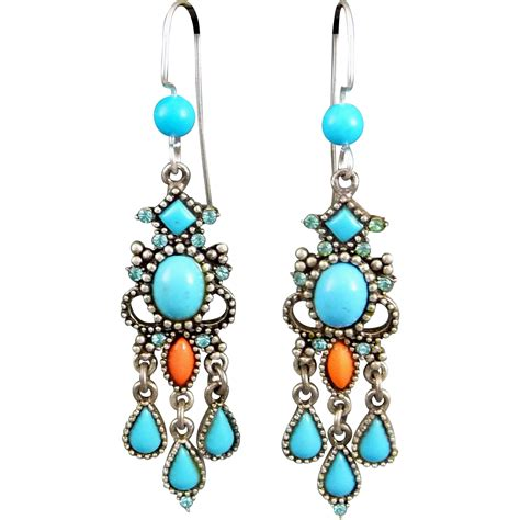 turquoise chandelier earrings vintage turquoise and coral carol duplaise chandelier