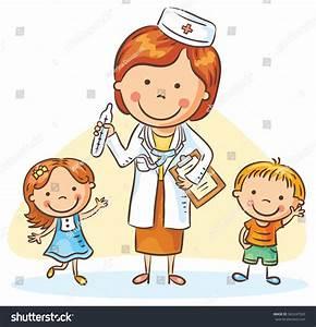 Cartoon Doctor Happy Little Children Boy Stock Vector ...