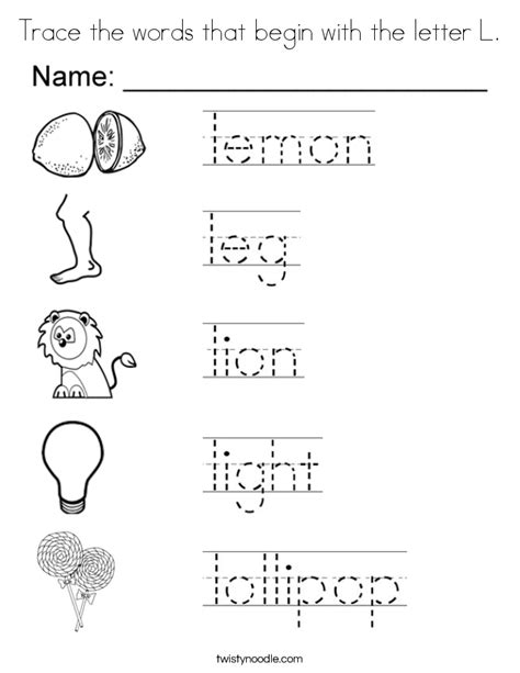 color that begins with e trace the words that begin with the letter l coloring page