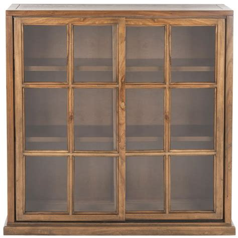 Door Bookcase by Safavieh Greg Oak Glass Door Bookcase Amh6570b The Home