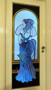 Art Deco Lady Bathroom Door Steven Cartwright Glass Designs