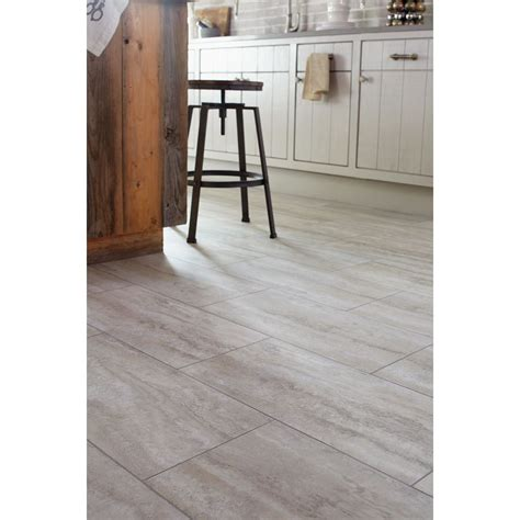 Groutable Vinyl Tile In Bathroom by Shop Stainmaster 12 In X 24 In Groutable Oyster Travertine