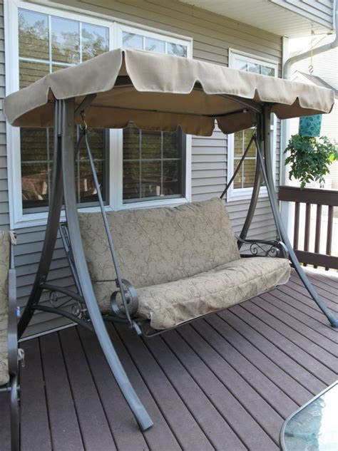 patio swing cushions and canopy home design ideas